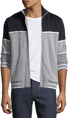 Ermenegildo Zegna Tricolor Zip-Front Sweater