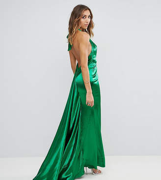 Jarlo Tall High Neck Fishtail Maxi Dress With Open Back Detail
