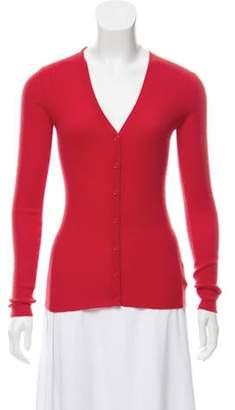 Michael Kors Cashmere Rib-Knit V-Neck Cardigan Orange Cashmere Rib-Knit V-Neck Cardigan