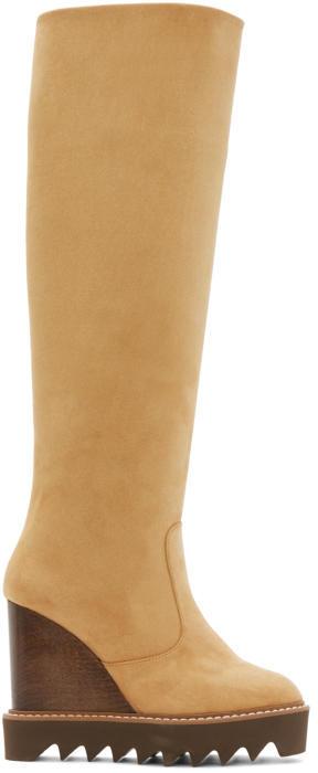 Stella McCartney Tan Knee-High Wedge Boots