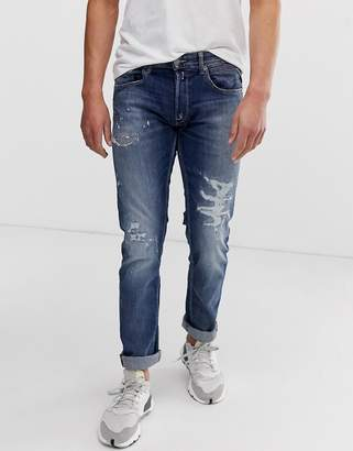 Replay Grover Straight Super Stretch Rip & Repair Jeans