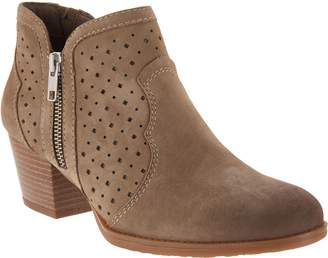 Earth Perforated Leather Side-Zip Booties -Marion