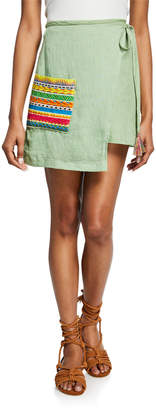 All Things Mochi Ivy Linen Wrap Skirt w\/ Embroidered Pocket