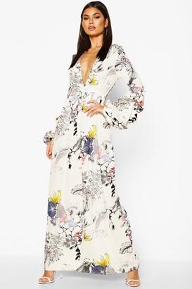 boohoo Mimi V Neck Rouched Sleeve Floral Maxi Dress
