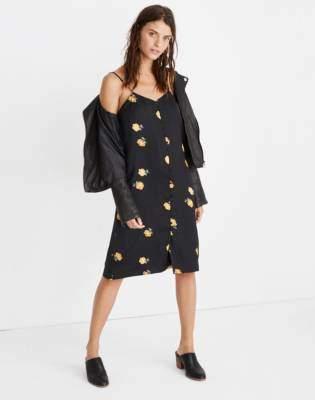 Button-Front Slip Dress in Floating Florets