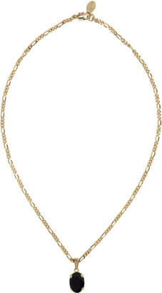 Alexander McQueen Gold and Black Oval Pendant Necklace
