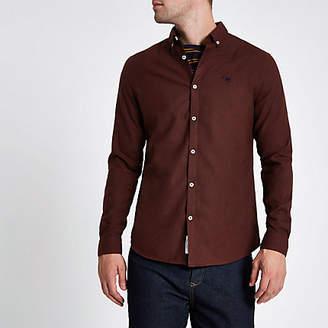 River Island Dark red long sleeve flannel shirt