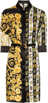 Versace Baroque print belted silk shirt dress