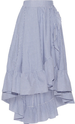 Maje - Wrap-effect Ruffled Striped Poplin Midi Skirt - Blue $295 thestylecure.com