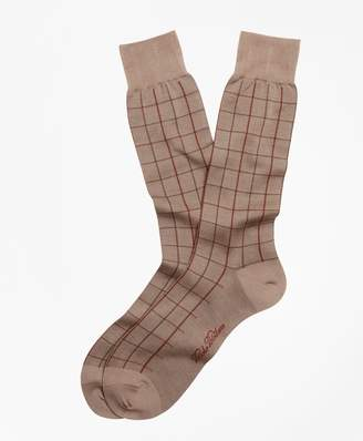 Brooks Brothers Two-Color Windowpane Crew Socks