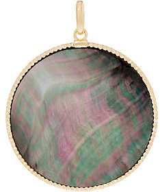 Mother of Pearl Italian Gold Round Mother-of-Pearl Pendant,14K Yellow Gold