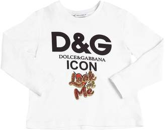 Dolce & Gabbana Logo Cotton Jersey Long Sleeve T-Shirt