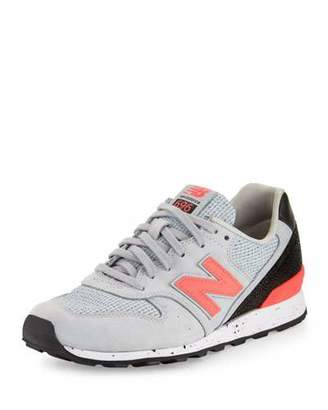 New Balance Embossed Leather Sneaker, Gray/Pink $225 thestylecure.com