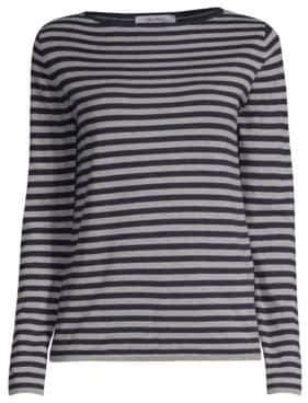 Max Mara Nardo Long-Sleeve Stripe Silk & Cashmere Knit Top