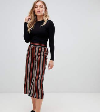 New Look Petite stripe wide leg crop pant black pattern