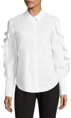 Lace-Up Ruffled Poplin Shirt