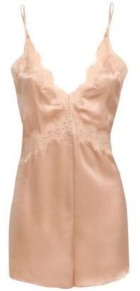 CAMI NYC Lace-trimmed Silk-satin Playsuit