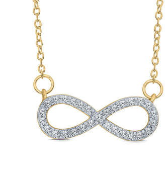 FINE JEWELRY Womens 1/5 CT. T.W. Genuine White Diamond 10K Gold Infinity Pendant Necklace