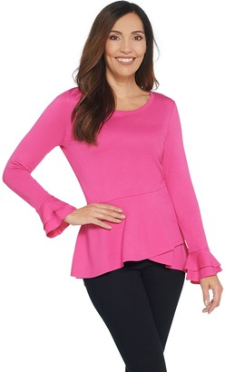 Isaac Mizrahi Live! Knit Asymmetric Peplum Top with Sleeve Detail