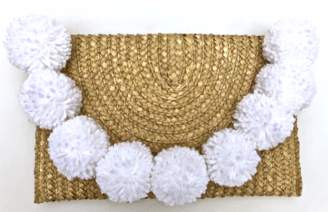 Accessory Concierge Snowball Pom Straw Clutch (more colors)