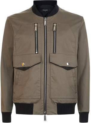 DSQUARED2 Leather Trim Bomber Jacket