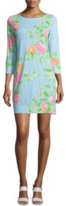 Lilly Pulitzer Marlowe 3/4-Sleeve T-Shirt Dress, Pool Blue $98 thestylecure.com