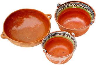 One Kings Lane Vintage Vintage Mexican Terracotta Set of Bowls