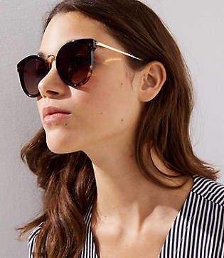 LOFT Metallic Arm Tortoiseshell Print Round Sunglasses