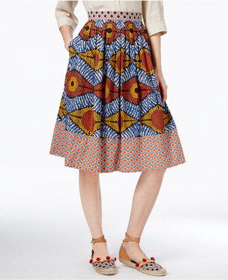 Weekend Max Mara Cellula Cotton Printed A-Line Skirt $350 thestylecure.com
