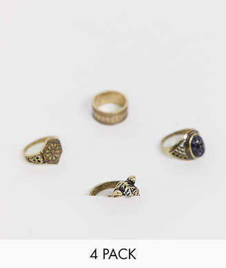 Design DESIGN ring pack with cheetah and stone in burnished gold