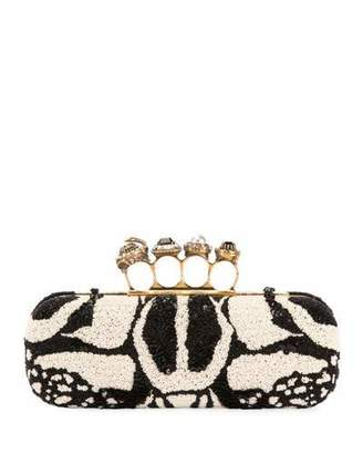 Alexander McQueen Bug Embroidered Four-Ring Knuckle Box Clutch Bag