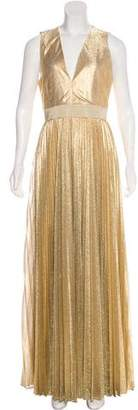 Alice + Olivia Metallic Pleated Evening Dress