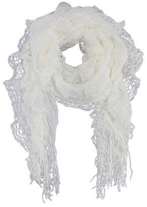 Luxury Divas Ivory Elastic Ruffled Layer Knit Scarf Wrap With Fringe
