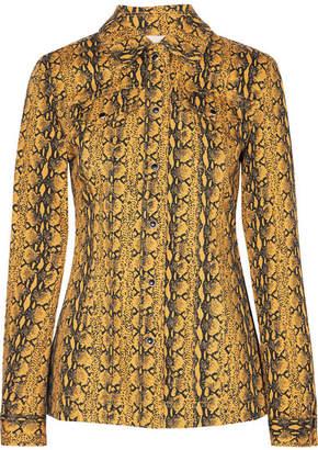ALEXACHUNG Snake-print Denim Jacket - Mustard