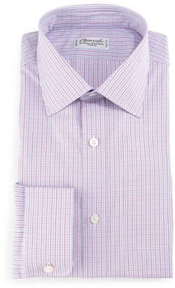 Charvet Check Barrel-Cuff Dress Shirt, Pink