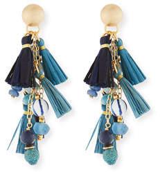Akola Blue Mixed-Media Cluster Raffia Tassel Drop Earrings
