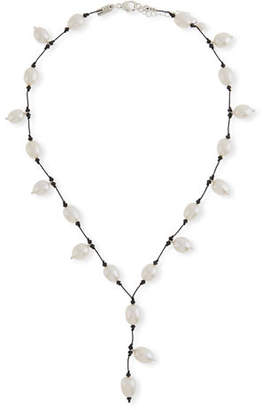 Margo Morrison Pearl & Crystal Y-Drop Necklace