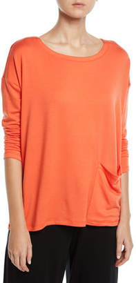 Eileen Fisher Long-Sleeve Pocket-Front Terry Top