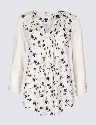Marks and Spencer Cotton Rich Floral Print Long Sleeve Top