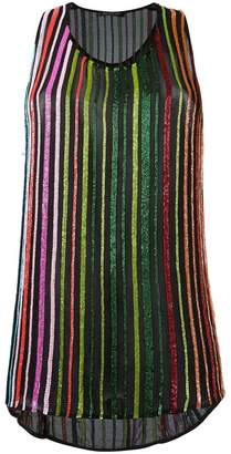 Balmain glass beaded stripe tank top