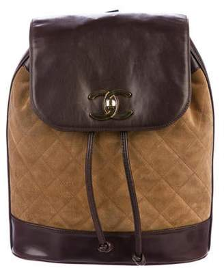 6e05655096b500 Chanel Quilted Suede Drawstring Bag w/ Pouch