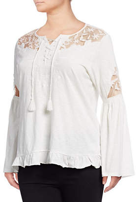 Style&Co. STYLE & CO. Plus Embroidered Lace Cotton Top