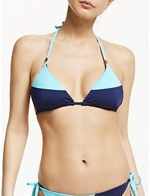 John Lewis & Partners Paradise Lost Colour Block Triangle Bikini Top, Navy/Multi