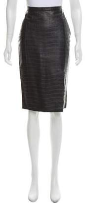 Emilio Pucci Embossed Leather Skirt