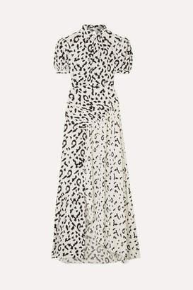 Self-Portrait Self Portrait Open-back Ruched Leopard-print Jersey Maxi Dress - Cream