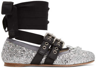 Miu Miu Silver Glitter Double Bands Ballerina Flats