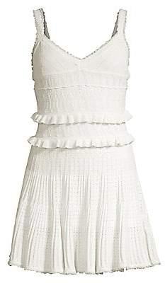 Herve Leger Women's Crochet V-Neck Fit-&-Flare Dress
