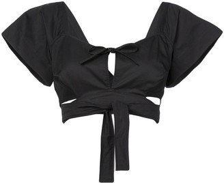 Isa Arfen tie-me up cropped blouse