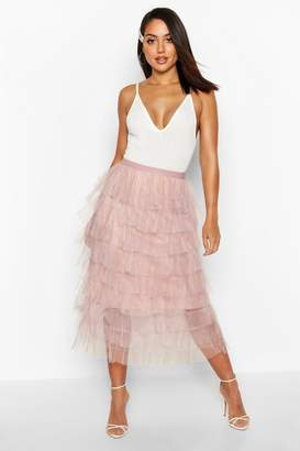 boohoo Layer Tulle Midi Skirt