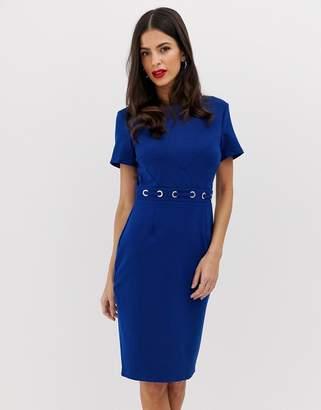 Paper Dolls block colour short sleeve pencil dress with waist belt